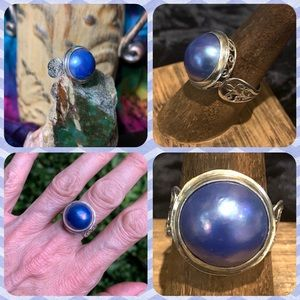 """🌹NWT Sterling """"electric periwinkle"""" mabe pearl"""